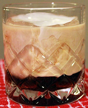 Unmixed White Russian cocktail.