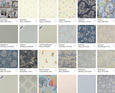 Colefax and Fowler wallpaper brands.