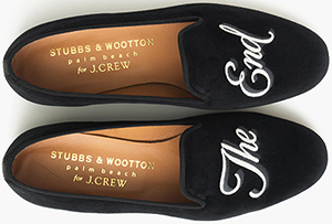 Stubbs & Wootton for J.Crew embroidered 'The End' women's slippers.