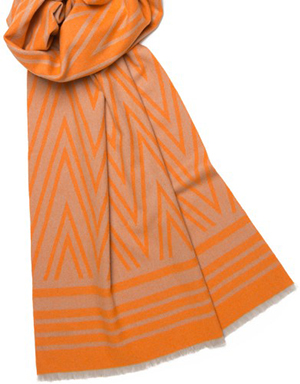 Neisha Crosland Simple overized Aztec style graphics decorate this elegant, thick wool & cashmere blend scarf: £250.