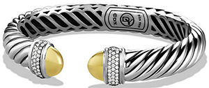 David Yurman Sculpted Cable Bracelet with Diamonds and 18K Gold, 5mm: US$2,400.