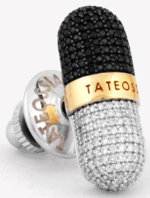 Tateossian pill collection diamond silver & gold pin: €1,400.