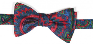Edward Armah Red/True Blue Tapestry Paisley Print Reversible Bow Tie: US$95.