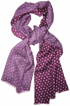 Edward Armah Wine/Cream Dots Scarf: US$225.