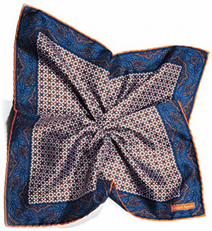 Edward Armah Orange/Navy Neat Links/Persian Border Print Pocket Square: US$75.