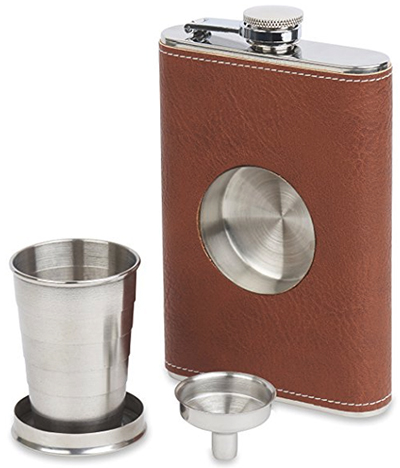 English Street Flasks Dirty Mack's Brown Leather Wrapped Stainless Steel 8oz Shot Flask with Removable Collapsible Steel Cup & Funnel: US$19.95.