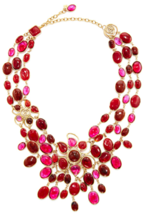 Loulou de la Falaise 24K Yellow Gold Plated, Ruby, Fuchsia, And Mocha Pebble And Flower Necklace.
