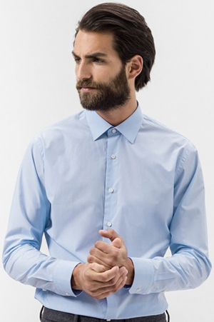 Figaret Paris Luxury Contemporary Fit light blue checks 140/2 poplin men's shirt: €185.
