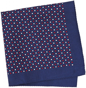 Figaret Paris blue pocket square with red and white dots: €50.