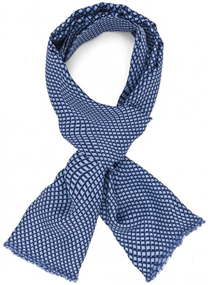 Figaret Paris blue with geometrical patterns men's scarf in silk: €135.