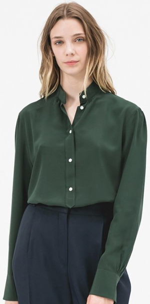 Figaret Paris Betty plain khaki silk crepe blouse: €195.