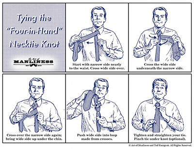 How to Tie a Four-in-Hand Necktie Knot: Your 60 Second Visual Guide.