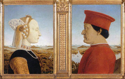 Portraits of the Duke & Duchess of Urbino by Piero della Francesca.