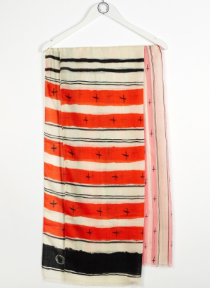 Ines de la Fressange Paris Nadjet Scarf Ethnic Print in Orange Mixed Wool: €280.