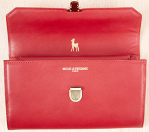 Ines de la Fressange Paris Carmine Leather 'Ecolier' XL Women's Wallet: €300.