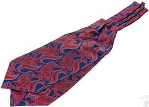 Gentleman's Gazette Ascot in Madder Silk with Red, Orange, Navy and Light Blue Paisley - Fort Belvedere: US$160.