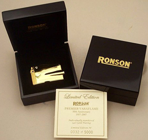 Ronson Limited Edition 24K Gold Anniversary Varaflame Lighter.