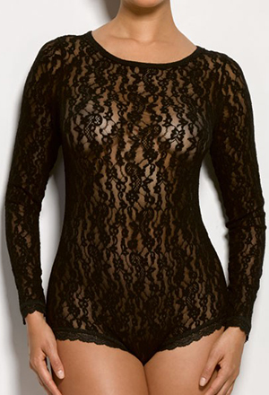 Hanky Panky Ariel Lace Long Sleeve Bodysuit: US$102.