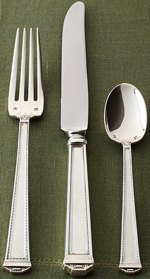 Horchow 46-Piece Pantheon Sterling Silver Flatware Service: US$12,500.