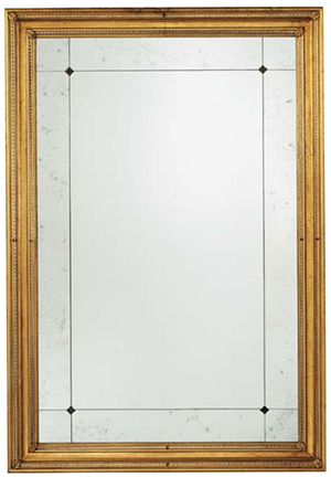 Of Interni Mirror-wooden frame, gold finishing antiqued side panels mirror & clear central mirror.