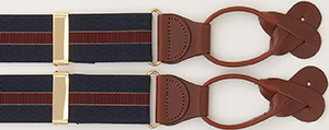 J.Press Stretch - Navy/Burgundy/Tan Braces: US$110.