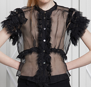 Jupe by Jackie Langeni Sparkle Black Transparent top with hand embroidered borders at all ruffles: €590.