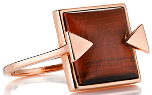 Karen Walker solar flare ring tiger's eye rose gold ring: US$518.
