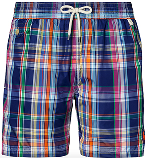 Ralph Lauren 5¾-inch plaid men's swim trunk: US$75.