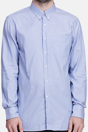 The Line Childs L/S Button Down Shirt - Blue/White: US$300.