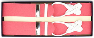 New & Lingwood Boxcloth White Leather End Pink Braces: £95.