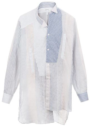 Loewe Asymetric men's Shirt Patchwork White/Navy/Red; US$990.