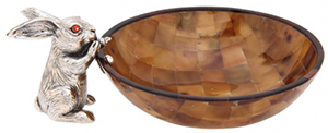 Lotus Brown Shell Bowl with Silver Rabbit.