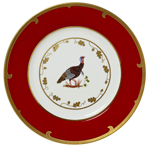 Lynn Chase Winter Game Birds Wild Turkey Charger: US$175.
