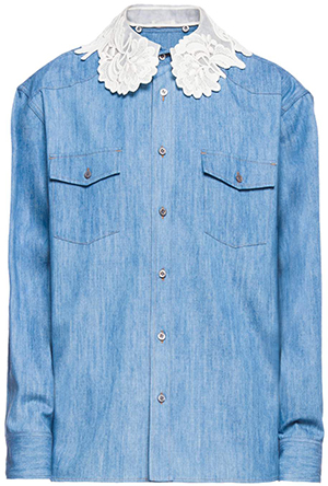 Miu Miu women's Straight fit denim shirt.