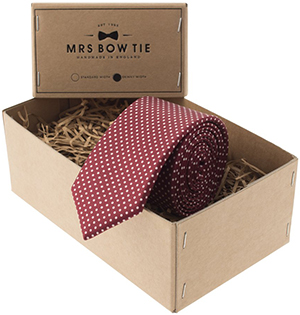 Mrs Bow Tie Pin Dots in Burgundy Tie: US$44.36.