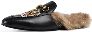 Neiman Marcus Gucci Princetown Fur-Lined Slipper w/Tiger Embroidery, Black men's Slipper: US$995.