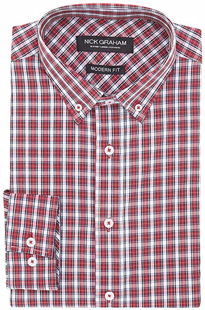 Nick Graham Men's Tartan Check Button Down Collar Long Sleeve Dress Shirt: US$59.50.
