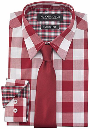 Nick Graham Men's Red White Gingham Dress Shirt with Tie Set: US$59.50.