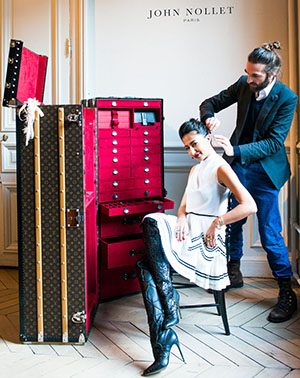John Nollet's custom Louis Vuitton trunk is home to his entire salon!