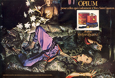 Opium by Yves Saint Laurent (original advertisement (1977) photographed by Helmut Newton, featuring Jerry Hall.