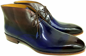 Oscar William Men's English Handcrafted Chukka Boots, Blue/Brown: £349.