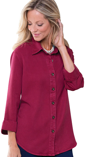 PajamaJeans Tencel Big Shirt Women's - Wine: US$59.99.