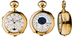 World's Most Expensive Watch: Patek Philippe Henry Graves Super Complication Pocket Watch sold for US$24 million at Sotheby's in Geneva on November 11, 2014, setting a new record price for any timepiece sold at auction.