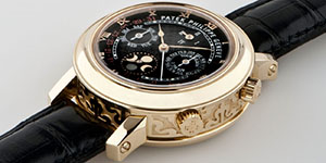 World's Most Expensive Watch #22: Patek Philippe Sky Moon Tourbillon in yellow gold, Ref. 5002, sold for US$1.2 million at the Patrizzi & Co. auction in New York on October 7, 2009.