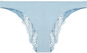 La Perla Sky blue Brazilian briefs decorated with an ultra-feminine macramé design on the back and soft Lycra on the front: US$305.