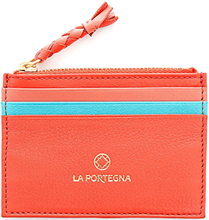 La Portegna women's Humphrey zipped coral card holder: £55.