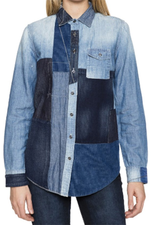 Prps Patchwork Button Front Denim women's Shirt: US$350.