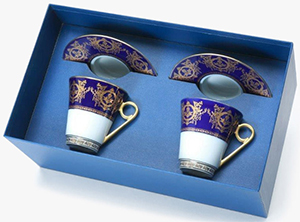 Ritz Paris Essentials 2 Breakfast cups & saucers Gft Box set, 'Imperial' Collection, blue: €932.