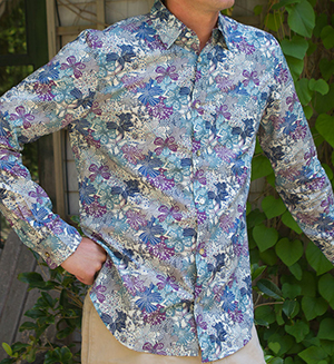 Sailor Rose 4th Street men's shirt in Liberty Grey Mauvey Print: US$180.