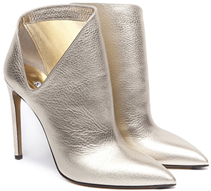 Walter Steiger Paris Furtiva Platinum grained leather cut shape women's ankle boots: €640.